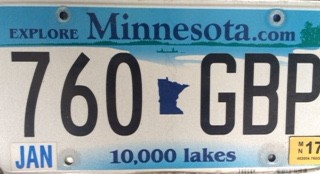 "Minnesota license plate with the call letters ""GBP"" at the end."