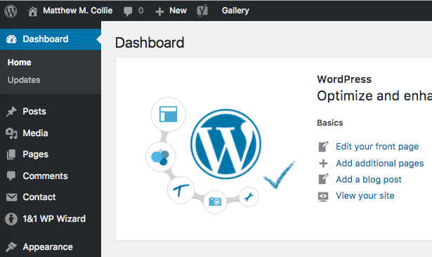 An example of the WordPress Dashboard, a navigational user interface to various functions of WordPress.