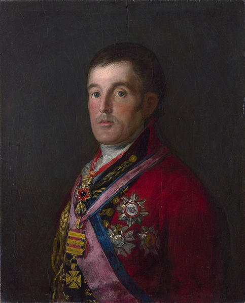 The painting The Duke of Wellington by Francisco de Goya. The painting depicts a man in British military dress (sans hat) with many medals on a grey-blue background.