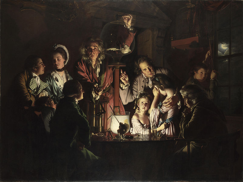 """The painting An Experiment on a Bird in the Air Pump by Joseph Wright """"of Derby"""". A chiaroscuro painting depicting numerous figures around a dove like bird in a clear container. Figures in the left foreground watch the bird intently, a male and a female figure on the left exchange glances, an old man on the right consoles two young women, one worried the other covering her face with her hand. In the center an older man looks at the viewer and breaks the fourth wall, his hand on the glass container."""