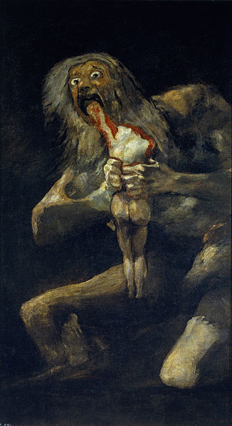 The painting Saturn Devouring his Son by Francisco de Goya. A lanky, nude, grotesque figure with stringy white hair and wide eyes is depicted on a black background. The figure is gripping a headless, bloodied figure, seen from behind and inserting the bloodied figure's arm into it's open mouth.