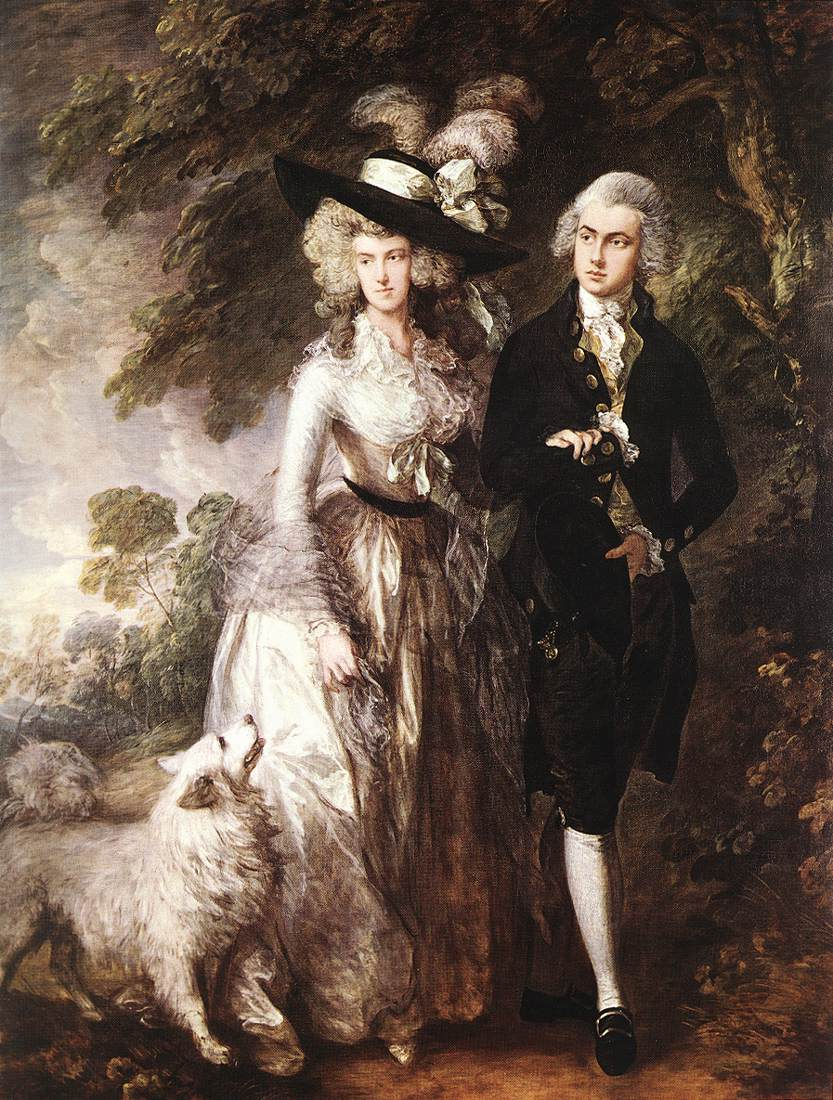 """The painting Mr. and Mrs. William Hallett (""""The Morning Walk"""") by Thomas Gainsborough. A female figure and a male figure walk arm-in-arm along a wooded path. The woman, center, is in a white Victorian dress with a black, wide brimmed hat with a big white bow. The man, left, is in a black Victorian suit with white pampered hair. Bottom left a white shaggy dog looks up at the woman."""