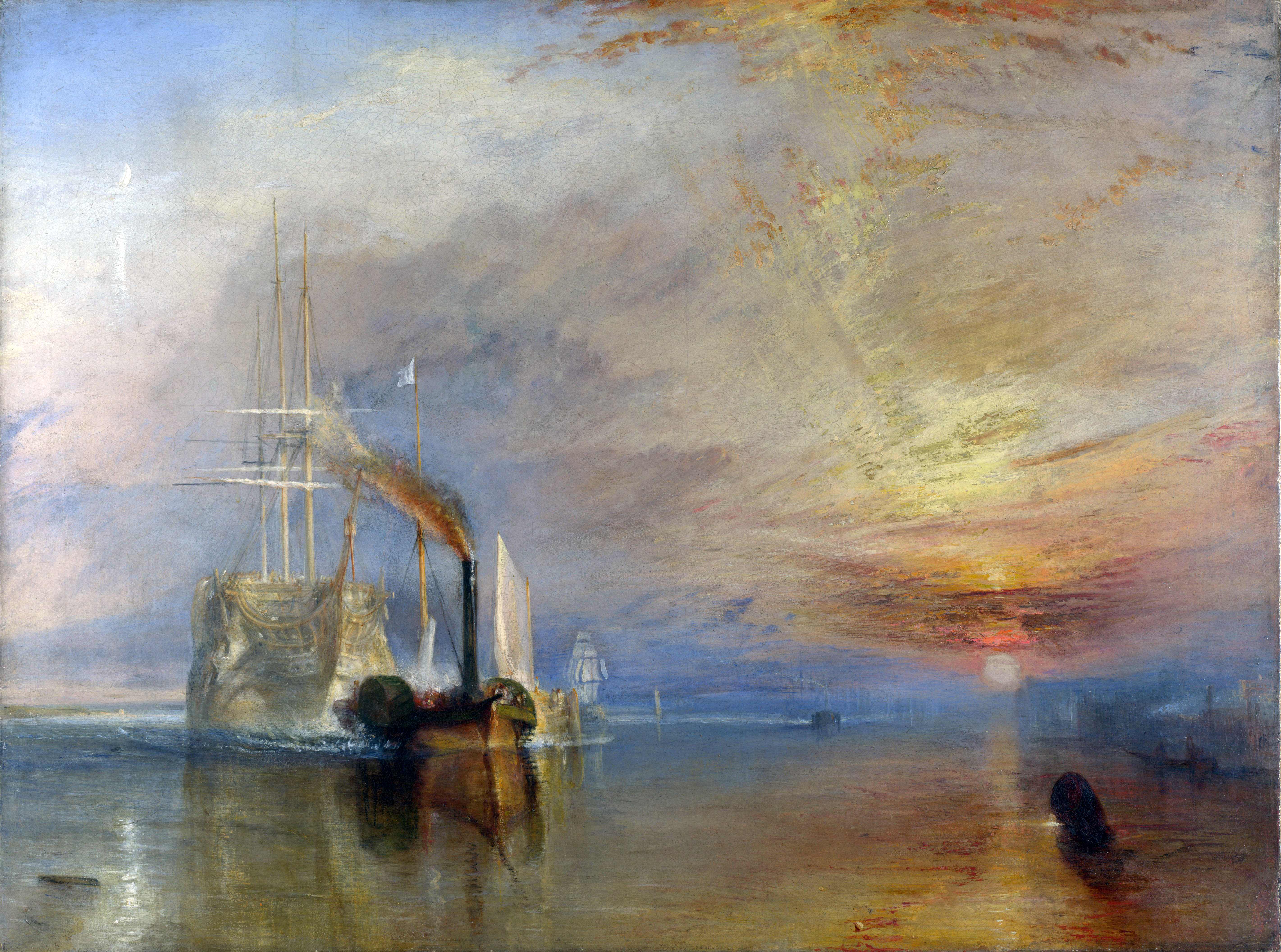 The painting The Fighting Temeraire Tugged to Her Last Berth to be Broken Up, 1838 by J. M. W. Turner. The painting depicts an idealized white galley ship being pulled from the right side of the painting by a dark tugboat. On the left of the painting is a red and yellow sunset.