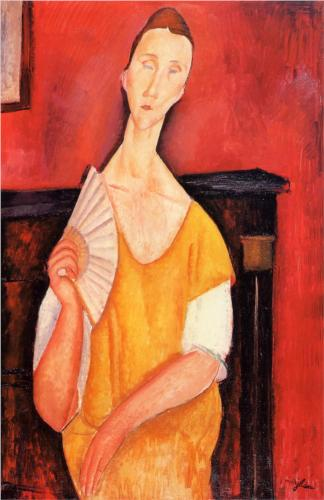 The painting Woman with a Fan (Lunia Czechowska) by Amedeo Modigliani. Generalized, not detailed, depiction of a female figure in a yellow dress holding a fan against a scarlet background. The woman's head and neck are overly elongated compared to the rest of the body.