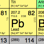The square for Lead (Pb) on the periodic table.