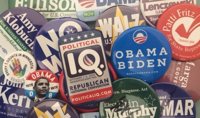 Picture of political campaign buttons.
