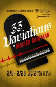 Poster for Theatre B stage production of 33 Variations by Moisés Kaufman.