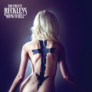 Album cover for The Pretty Reckless album Going to Hell. Shows a naked woman, seen from behind with a cross with an arrow pointing down painted on her back.