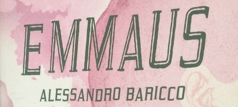 The word EMMAUS with Alessandro Baricco written under it on a pink and white background.