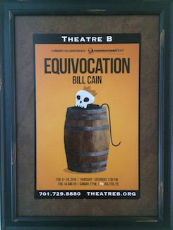 Photo of a theatre poster for the show Equivocation by Bill Cain