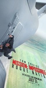 Movie poster for Mission: Impossible Rogue Nation where Tom Cruise is hanging off the side of a plane.