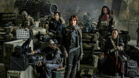Photo of the Rogue One cast amidst a hanger.