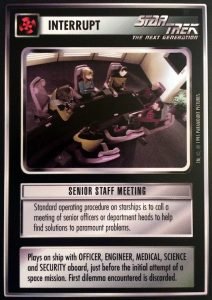 Photo of the card Senior Staff Meeting from Star Trek CCG.