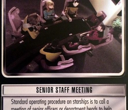 Detail photo of the picture and flavor text of the card Senior Staff Meeting from Star Trek CCG.