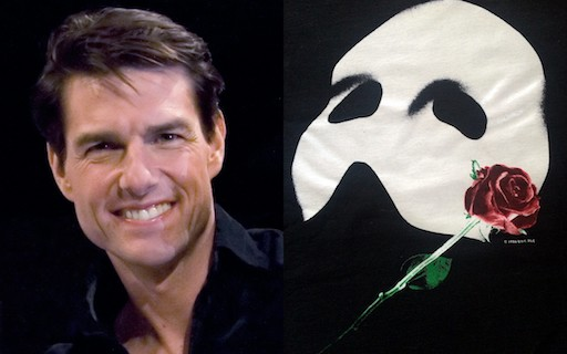 Spilt picture. On the left, Tom Cruise Musicals Phantom of the Opera Logo on the right.