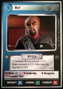 Photo of the card Worf from Star Trek CCG, First Contact expansion set.