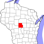 Map of Wisconsin highlighting Wood County in red.