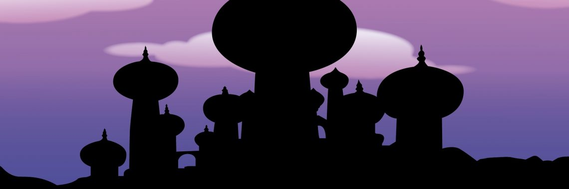 Illustration of the skyline of Agrabah from Aladdin at night.