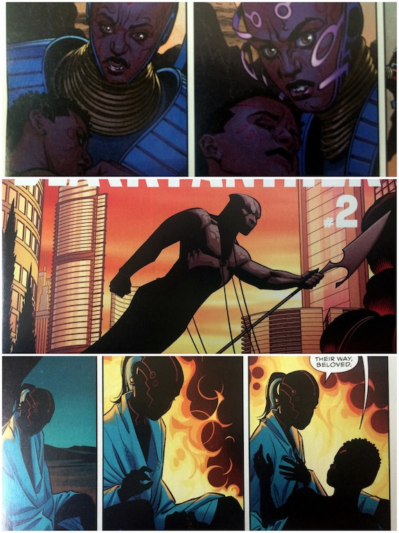 Black Panther comic panels in a stacked triptych.