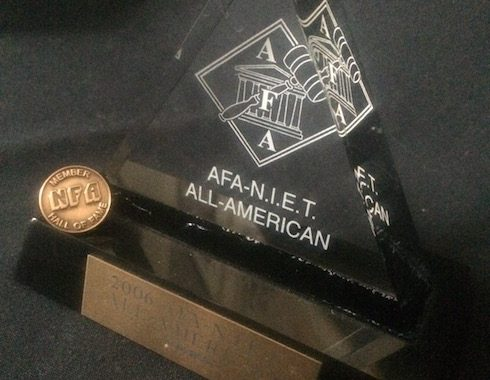 NFA Hall of Fame pin on AFA-NIET All-American Award