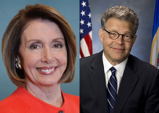 Official Portraits of Rep. Nancy Pelosi and Sen. Al Franken.