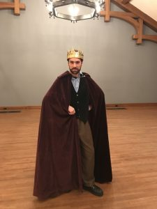 Matthew Collie dressed as the King of France for a production of All's Well That Ends Well