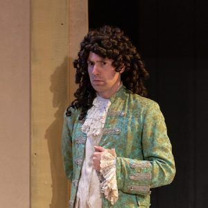 Matthew Collie dressed as Cleanté for a production of Tartuffe