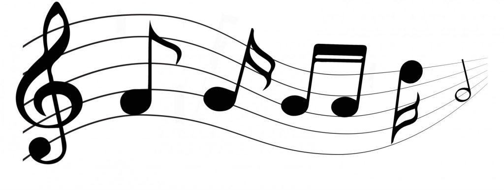 Musical notes on a treble clef.