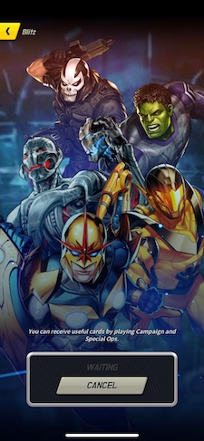 Marvel Battle Lines waiting screen showing five men and no women.