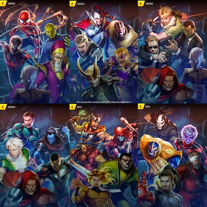 Six Marvel Battle Lines waiting screens with five men and no women on each.