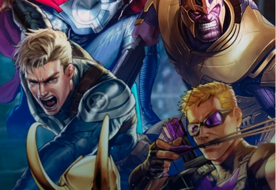 Marvel Battle Lines waiting screen with five men and no women.
